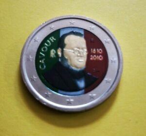 2 euro commémorative colorisée Italie 2010 Comte de Cavour