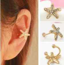 1pc Women Crystal Starfish Charm Ear Clip Cuff Earring Stud Fashion Jewelry Gift
