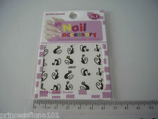 Nail tip Art stickers transfer water decals Slinky Black  Cat Gold eyes Jh32