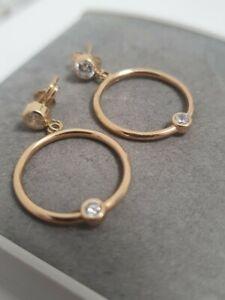 18k / 18ct / 750 Yellow GOLD Stud Drop Hoop Earrings 1.64g #126