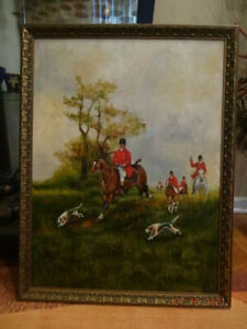 """Vintage oil painting on canvas """"English Fox Hunting"""" by artist W. Larsen"""