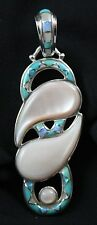 Sajen Inlaid Turquoise Opal and Mother Of Pearl Pendant Sterling Silver .925