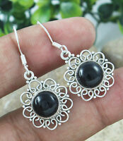 Solid 925 Sterling Silver Black Onyx Handmade Earrings Jewelry 3.83g