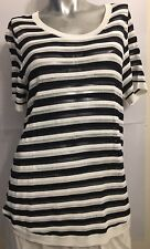 SUSSAN M White Navy Striped Short Sleeved Dipped Asymmetric Top Blouse Shirt BN