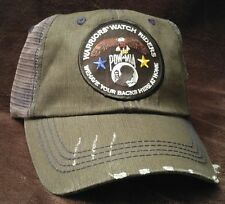 Warriors Watch Riders USA Veterans & USA Supporters Distressed Dark Gray Hat