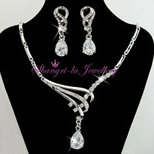 18K WHITE GOLD GP PEAR SILVER Wedding NECKLACE SET With SWAROVSKI CRYSTAL 41363