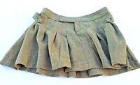 Doki Geki Girl's Junior Skater Pleated Mini Skirt  Herringbone Olive Sz S M L