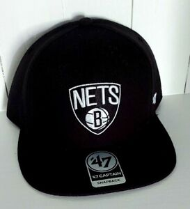 Brooklyn Nets Hat '47 Captain Snapback Cap Black on Black No Shot New NBA