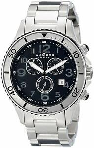 Akribos XXIV Men's AK616SS Ultimate Swiss Chronograph Black and Stainless Steel