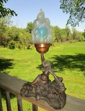 Art Deco Nouveau Lady on a Sea Serpent spelter Lamp W/ Flame Shade No Reserve!