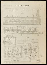 Alemania, plano antiguo motor gas y Generador de gas. 1909, Königsberg