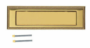 """Georgian Door Letter Plate Solid Polished Brass 10"""" x 3"""" (220mm Centres) + Bolts"""