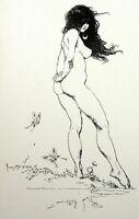 Vintage Art Frank Frazetta 1975 Nude Fairy Butterfly Toes Feet Girl GGA Hippy
