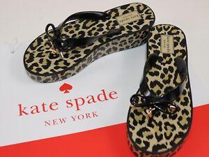 NEW KATE SPADE Size 7 Women's Black Leopard RHETT Bow T-Strap Wedge Sandal