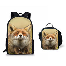 "Lovely Fox Print School Bag Set 17"" Backpack with Lunch Bag Cooler Totes For Kid"