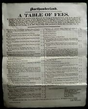 More details for 1826 superb northumberland-clerk to justices of the peace -table of fees assizes