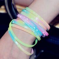10 pcs Fashion Glow Luminous Silicone Rubber Wristband Wrist Band Bracelet