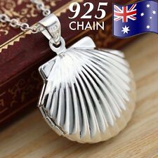 925 Sterling Silver Chain Photo Sea Shell Locket Mermaid Pendant Necklace Gift