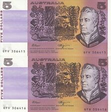 Australia. 'Fraser - Higgins' $5 (1990) Uncirculatred (Consecutive Pair)