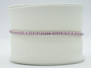 Womens Girls Shimmering Shiny Pink Stones Sterling Silver 925 Tennis Bracelet