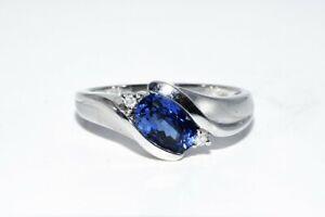 1.63CT BLUE SAPPHIRE & WHITE DIAMOND RING 14K WHITE GOLD