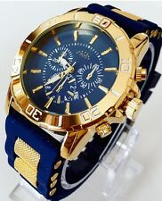 Men's Gold Watch Blue Silicone Strap Sports Smart Luxury Classic Date Dressy New
