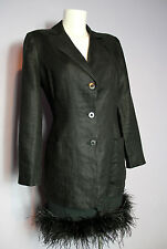 Vente KENZO JUNGLE noir lin Fitted Blazer Jacket UK 12