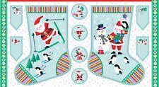Large Jolly Santa Stocking Christmas Fabric Panel Makower
