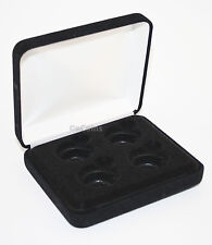 Black Felt COIN DISPLAY GIFT METAL PLUSH BOX holds 4-Quarters or Presidential $1