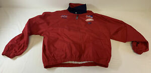 vintage AJ FOYT CONSECO RACING red pit crew jacket ~ size XL ~ Bugle Boy, IRL