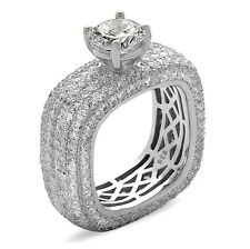 Sterling Silver Square Eternity Engagement Ring with Micro Pave CZ, Size 7-9