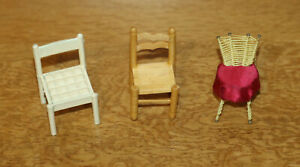 Dolls' House Miniatures - 3 x small chairs