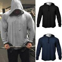 Men's GYM Fitness Bodybuilding Muscle Solid Cotton Raglan Hoodies Sweatshirts