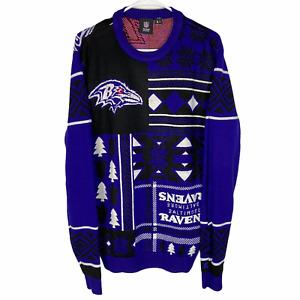 Baltimore Ravens Christmas Sweater NFL Team Men's Large Purple Black Crew Neck