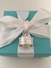 Tiffany & Co Sterling Silver Notes New York Wide Band Ring. Size 5.5. Retired