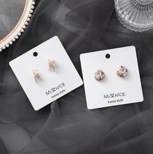 2 Designs of Ladies Stub Earrings 925 Sterling Silver Pin Gift