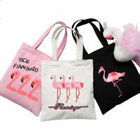 Women Flamingo Printed Canvas Shoulder Bag ECO Shopping Bag Zipper Tote Bags