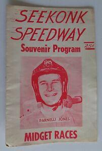 Seekonk MA. Speedway Midget Races Program PARNELLI JONES circa 1960's