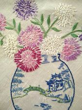 'Fairistytch'? Pastel Asters/Willow Vases Vintage Hand Embroidered Tablecloth