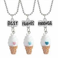 New 3Pcs Ice Cream Pendant Necklace Best Friend Forever Friendship Keepsake Gift