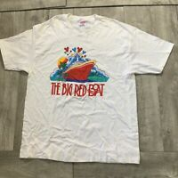 """RARE Vintage Mickey Mouse """"The Big Red Boat"""" Graphic Shirt Mens XL Disney Cruise"""