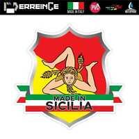 Sticker SICILIA Adesivo Parete Souvenir Decal Murale Bandiera Stemma Flag