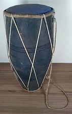 More details for big handmade vintage indian dholak musical instrument, dholak, wood, drum, music