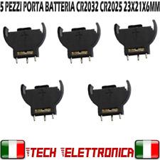 5PZ PORTA BATTERIA PER CR2032 BOTTONE PIATTA A LITIO CONTENITORE MONTAGGIO PCB