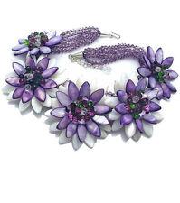 Madre de Perla Piedras preciosas Púrpura Collar de Diseño de Flores dramático