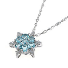 Frozen Princess Elsa Snowflake Blue Crystal Necklace in 925 Sterling Silver