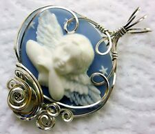 Angel Cameo Pendant 925 Sterling Silver Blue
