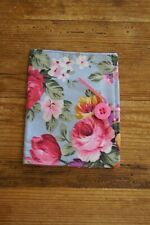 Handmade fabric tea bag holder wallet blue with pink roses yellow flowers