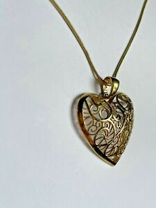 """Lucy Q gold on sterling silver large filigree heart pendant 18"""" necklace"""