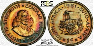 1961 SOUTH AFRICA ONE CENT PCGS PR65 Color Toned Coin Only 3 GRADED HIGHER